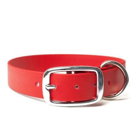 Mystique® Biothane deluxe nyakörv 25mm vörös 45-53cm