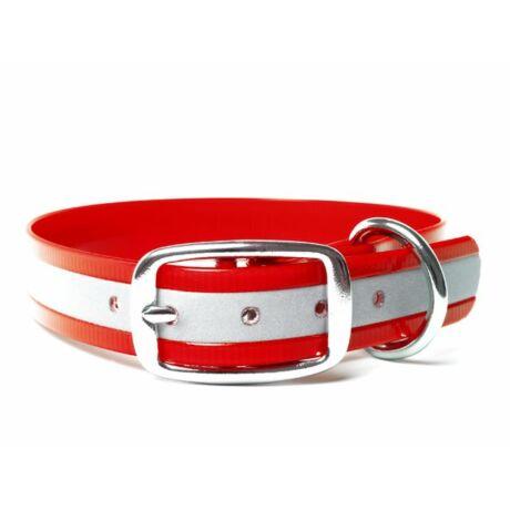 Mystique® Biothane deluxe nyakörv 25mm fényvisszaverö piros gold 50-58cm