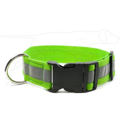 Mystique® Fényvisszaverő nyakörv click csattal 40mm neonzöld 50-60cm