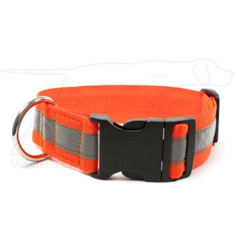 Mystique® Fényvisszaverő nyakörv click csattal 40mm neonnarancssárga 40-50cm
