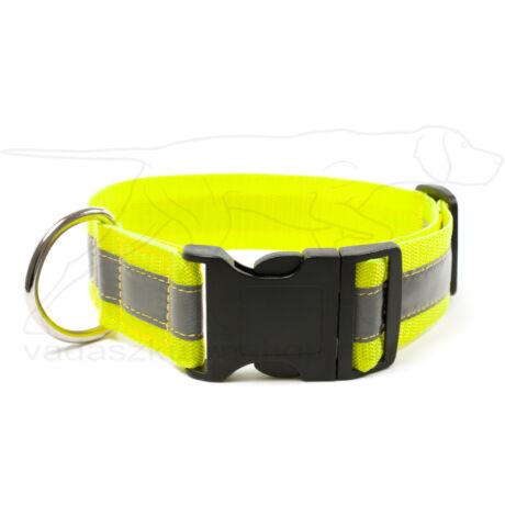 Mystique® Fényvisszaverő nyakörv click csattal 40mm neonsárga 55-65cm
