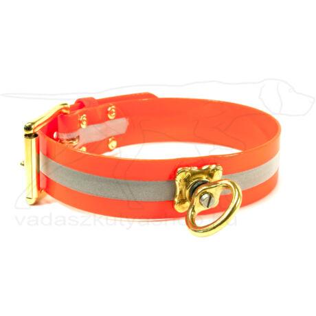 Mystique® Biothane utánkereső nyakörv 38mm fényvisszaverő narancssárga 40-50cm