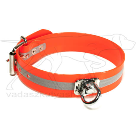 Mystique® Biothane utánkereső nyakörv 38mm fényvisszaverő narancssárga 50-60cm