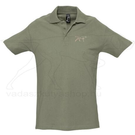 Galléros piké póló khaki - XL
