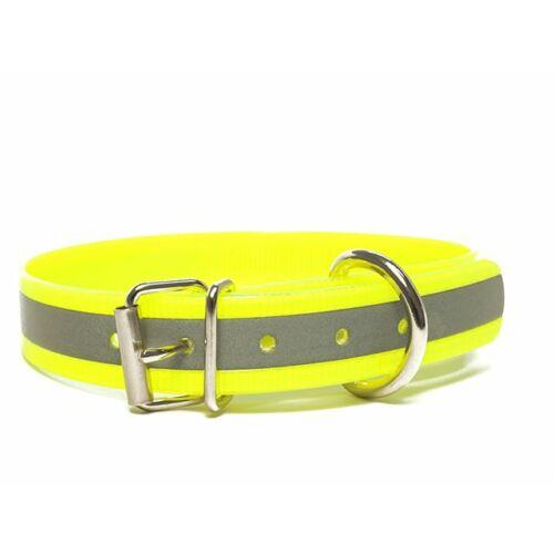 Mystique® Biothane nyakörv classic 25mm fényvisszaverö sárga gold 45-53cm