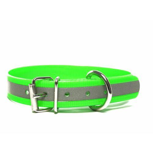 Mystique® Biothane nyakörv classic 19mm fényvisszaverö zöld gold 35-43cm