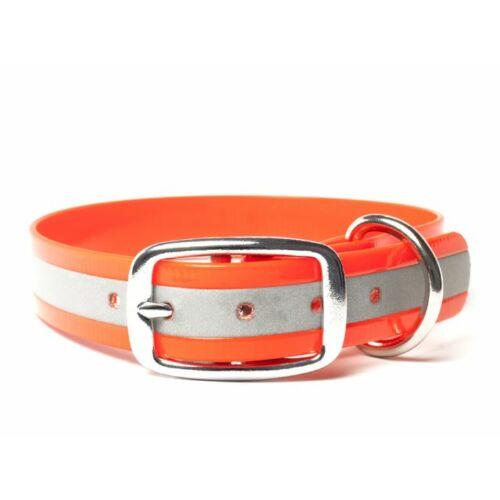 Mystique® Biothane deluxe nyakörv 25mm fényvisszaverö narancssárga gold 45-53cm