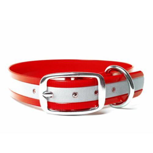 Mystique® Biothane deluxe nyakörv 19mm fényvisszaverö piros gold 35-43cm