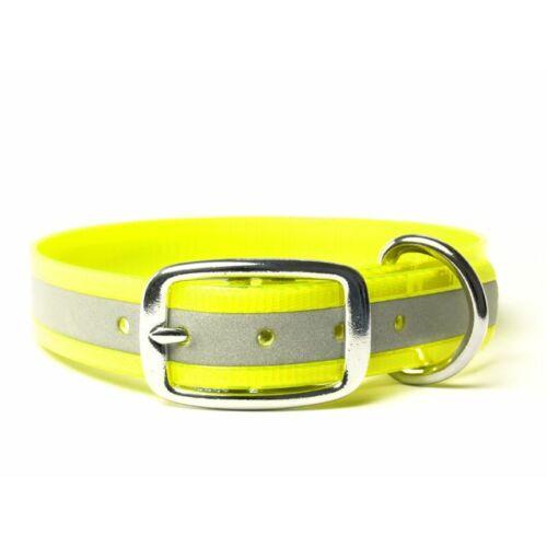 Mystique® Biothane deluxe nyakörv 25mm fényvisszaverö sárga gold 50-58cm