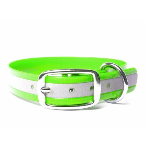 Mystique® Biothane deluxe nyakörv 25mm fényvisszaverö zöld gold 50-58cm