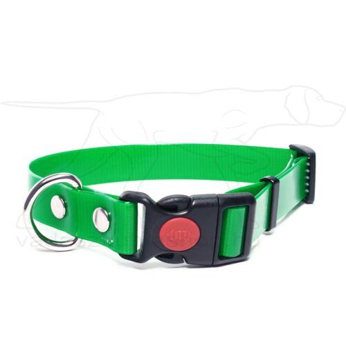 Mystique® Biothane safety click collar 25mm 40-50cm zöld gold
