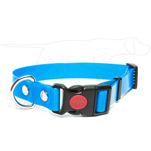 Mystique® Biothane safety click collar 19mm 30-40cm világoskék gold