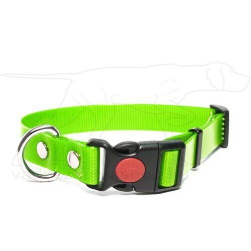 Mystique® Biothane safety click collar 25mm 40-50cm világos zöld gold
