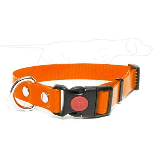 Mystique® Biothane safety click collar 25mm 40-50cm narancs gold