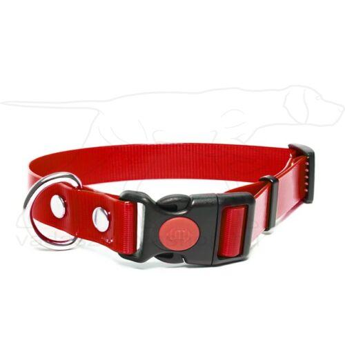 Mystique® Biothane safety click collar 25mm 40-50cm vörös gold