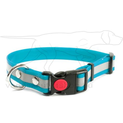 Mystique® Biothane safety click collar 25mm 40-50cm fényvisszaverő turquoise gold