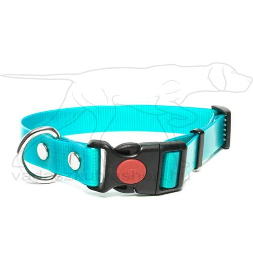 Mystique® Biothane safety click collar 25mm 40-50cm turquoise gold