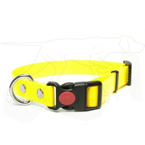 Mystique® Biothane safety click collar 25mm 40-50cm neom sárga