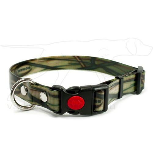 Mystique® Biothane safety click collar 19mm 30-40cm camo khaki gold