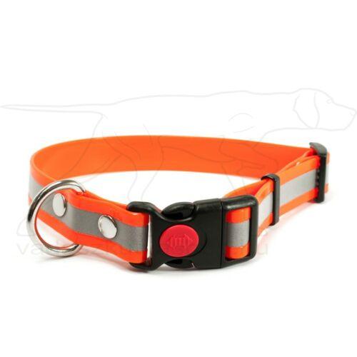 Mystique® Biothane safety click collar 25mm 40-50cm fényvisszaverő narancs gold
