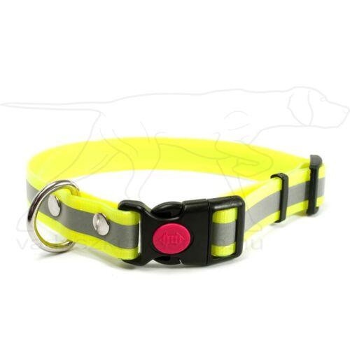 Mystique® Biothane safety click collar 25mm 40-50cm fényvisszaverő sárga gold