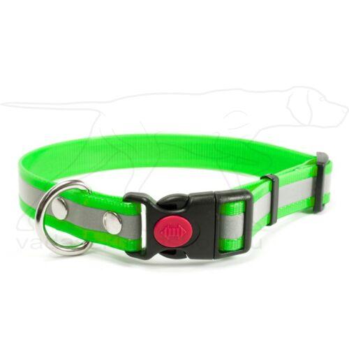 Mystique® Biothane safety click collar 25mm 40-50cm fényvisszaverő zöld gold