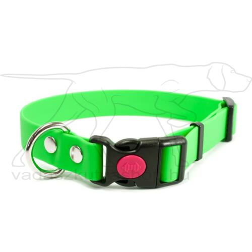 Mystique® Biothane safety click collar 19mm 30-40cm neon zöld