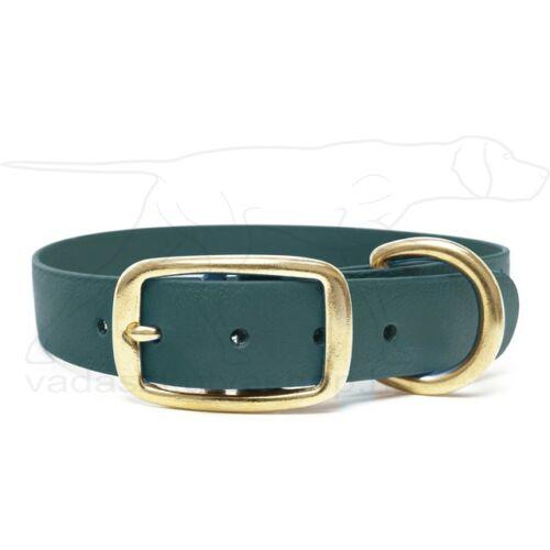 Mystique® Biothane deluxe nyakörv sárgaréz csattal 19mm zöld 35-43cm