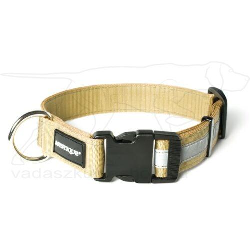 Mystique® Fényvisszaverő nyakörv click csattal 25mm bézs 50-60cm