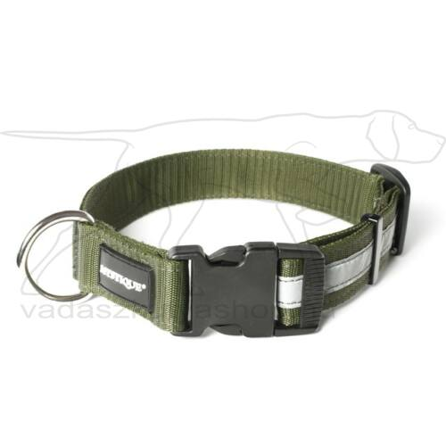 Mystique® Fényvisszaverő nyakörv click csattal 25mm khaki 40-50cm