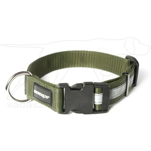 Mystique® Fényvisszaverő nyakörv click csattal 25mm khaki 50-60 cm