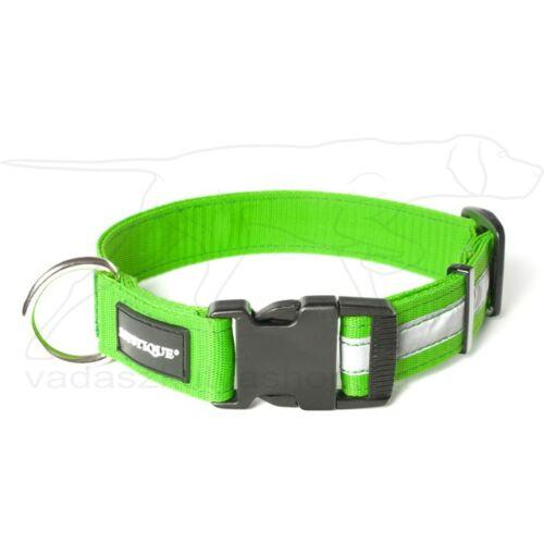 Mystique® Fényvisszaverő nyakörv click csattal 25mm neonzöld 40-50cm